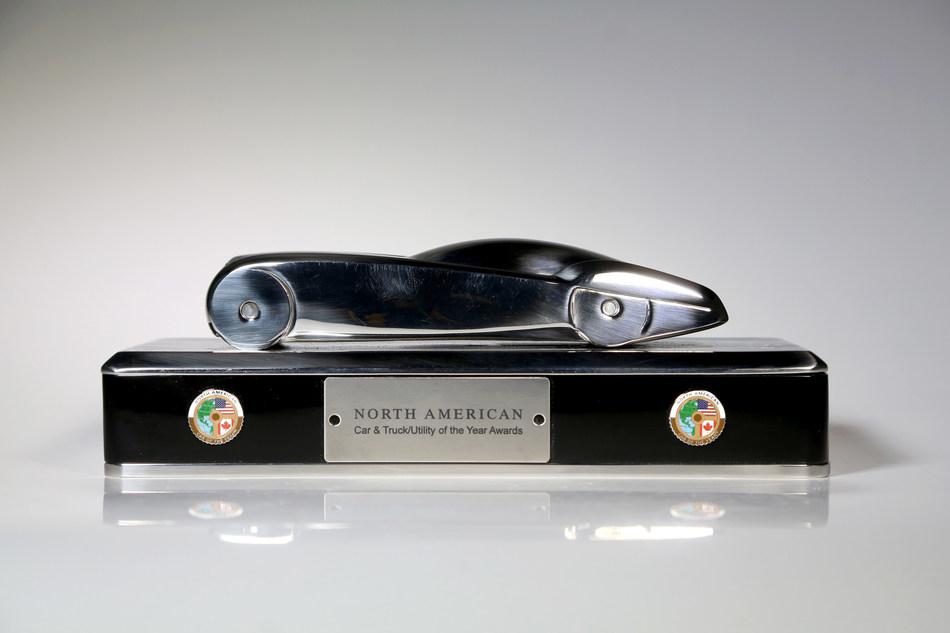 The North American Car of the Year trophy was created by retired General Motors design chief Ed Welburn. Credit: Eric Seals/North American Car of the Year