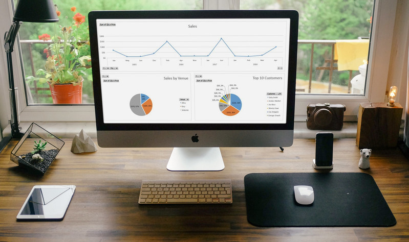 Dashboard charts from Intelligent Bookkeeping for Handmade Sellers