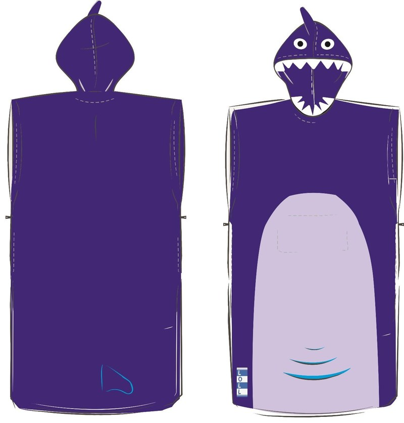 Drawing of the blue shark poncho towel