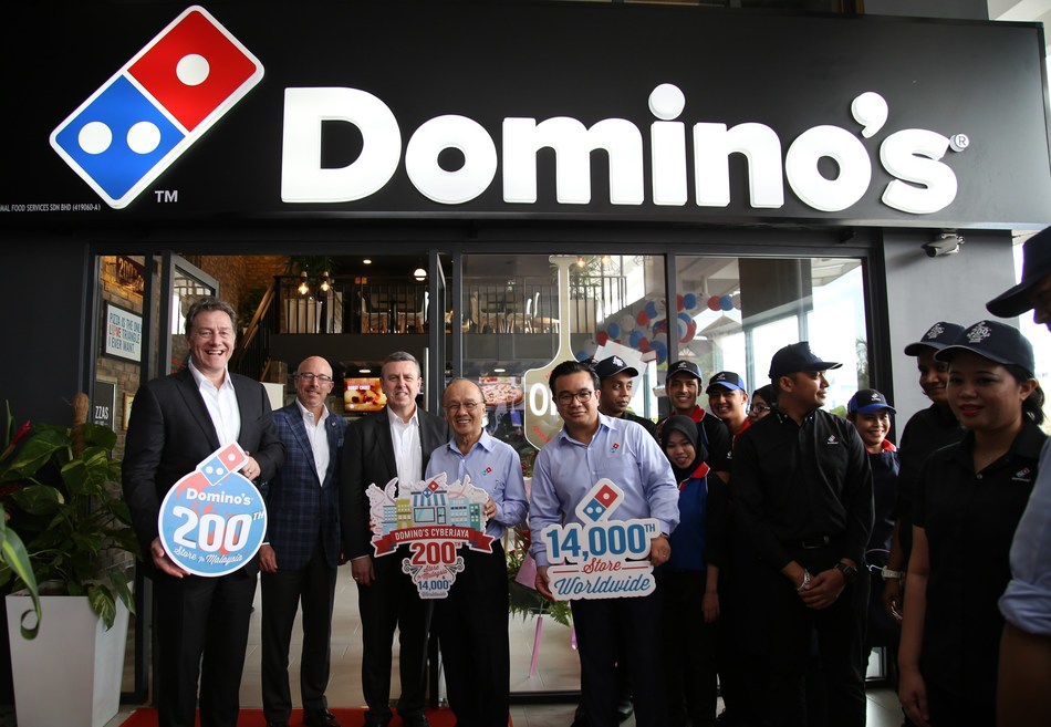 Domino's is celebrating the grand opening of its 14,000th store in in Cyberjaya, Malaysia, outside of the nation's capital of Kuala Lumpur.