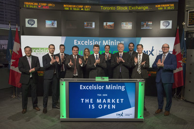 Stephen Twyerould, President & CEO, Excelsior Mining Corp. (MIN), joined Orlee Wertheim, Head Business Development, Global Mining, Toronto Stock Exchange and TSX Venture Exchange, to open the market. Excelsior Mining is a mineral exploration and development company that is advancing the Gunnison Copper Project in Cochise County, Arizona. Excelsior Mining Corp. graduated from TSX Venture Exchange, and commenced trading on Toronto Stock Exchange on February 2, 2017. (CNW Group/TMX Group Limited)
