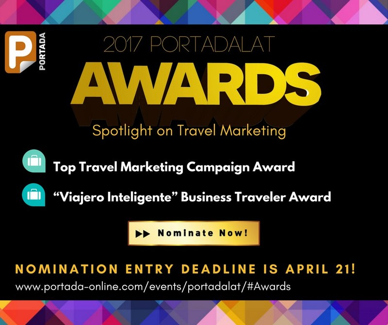 Portada is recognizing the important role of Travel Marketing in the U.S. and Latin America by introducing two Awards whose winners will be announced at PortadaLat in Miami on June 7-8. The top Travel Marketing Campaign Award and the Viajero Inteligente Business Traveler Award.