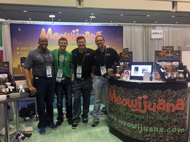 Meowijuana Booth at the Global Pet Expo.  Pictured from left to right are, Marc Adams, Aaron Hughes, Chris Glissman, and Heath Geister