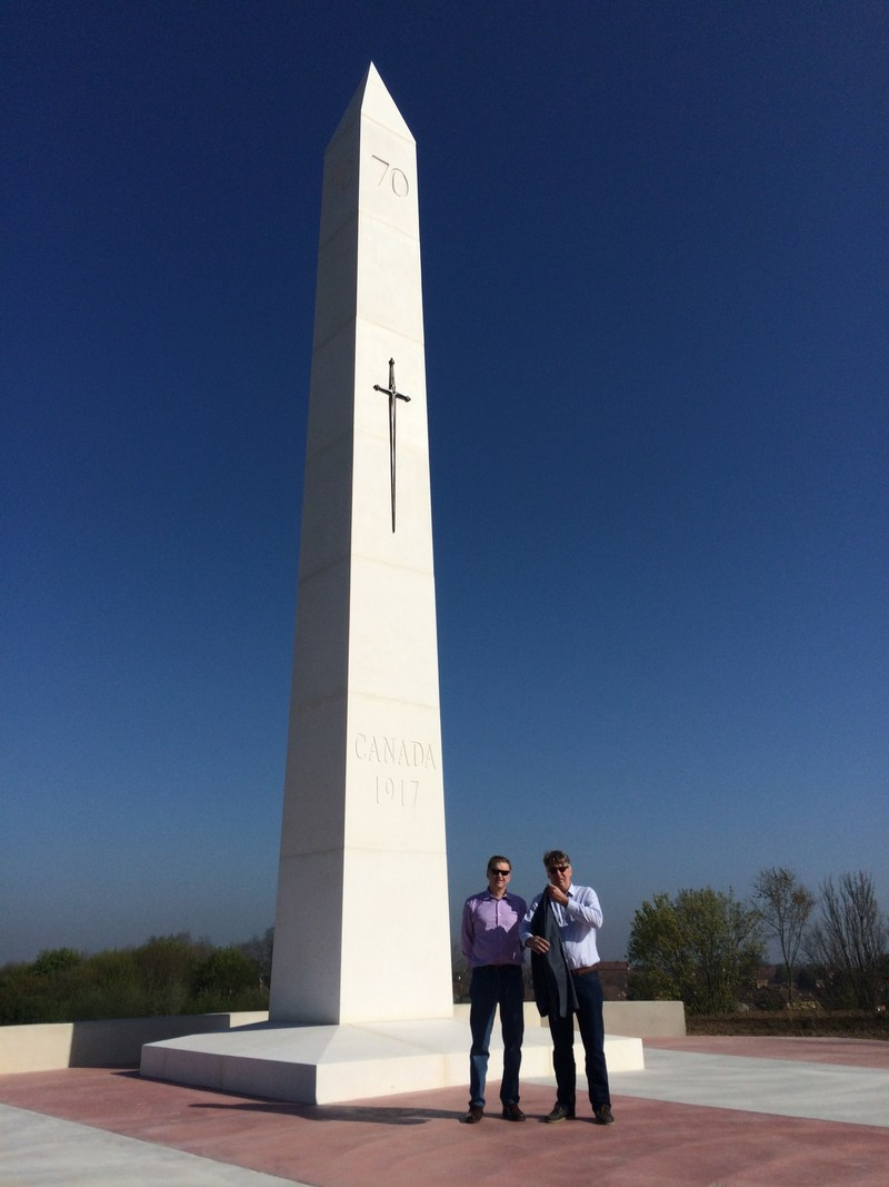 Sean Murray and Thady Murray of Sakto Corporation at the Hill 70 Memorial in France on April 8, 2017.