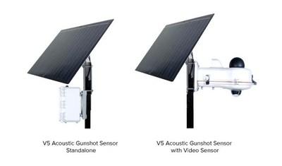 V5 Systems Acoustic Gunshot Sensor Standalone and with Video Sensor.