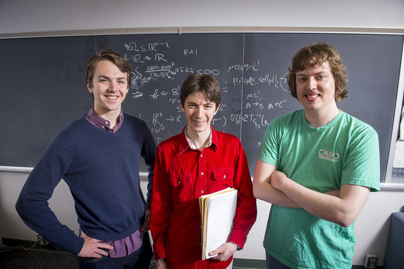 Carnegie Mellon's team takes first place in the Mathematical Association of America's Putnam Competition. (L-R) Thomas Swayze, Samuel Zbarsky and Joshua Brakensiek were named Putnam Fellows.