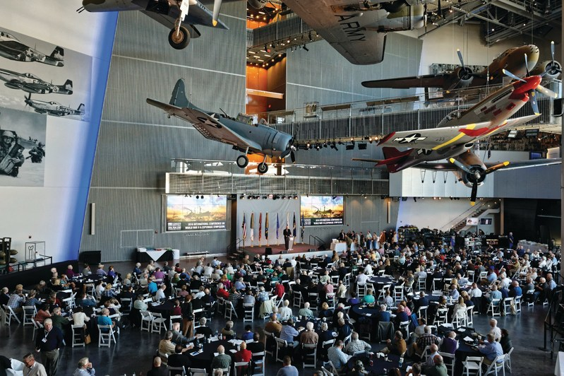 Attendees of the International Conference on World War II pack the U.S. Freedom Pavilion: The Boeing Center at the National WWII Museum in New Orleans.