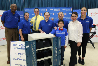 BBVA Compass donated 33 iPads and an iPad charging cart to Victor Fields Elementary School in McAllen, Texas, as a way to advance the students' learning experiences. (NOTE TO USER: User expressly acknowledges and agrees that, by downloading and/or using this Photograph, user is consenting to the terms and conditions of the  Getty Images License Agreement. Mandatory Copyright Notice: Copyright 2017 NBAE (Photo by Nathan Lambrecht/NBAE via Getty Images)