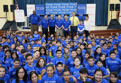 A group photo of the event on April 6 at McAllen's Victor Fields Elementary School, where BBVA Compass and WNBA Cares promoted financial literacy. (NOTE TO USER: User expressly acknowledges and agrees that, by downloading and/or using this Photograph, user is consenting to the terms and conditions of the  Getty Images License Agreement. Mandatory Copyright Notice: Copyright 2017 NBAE (Photo by Nathan Lambrecht/NBAE via Getty Images)