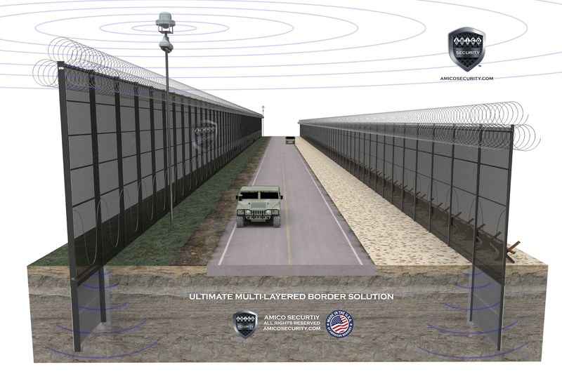 AMICO Security, the nation's leading manufacturer of high-security perimeter systems, is introducing to the market the ultimate multi-layered border security solution. This solution combines the latest in radar surveillance technology with high security layered, double walled fencing and state of the art detection technology to create a comprehensive border solution.