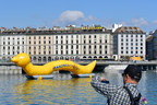A giant worm on Lake Geneva representing the parasitic worm of schistosomiasis that causes suffering to millions around the world. Its devastating impact is second only to malaria. (PRNewsfoto/Global Schistosomiasis Alliance)