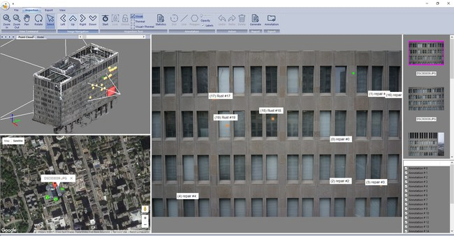 Remote Inspection using Blue Vu with real-time annotation and drone data management.