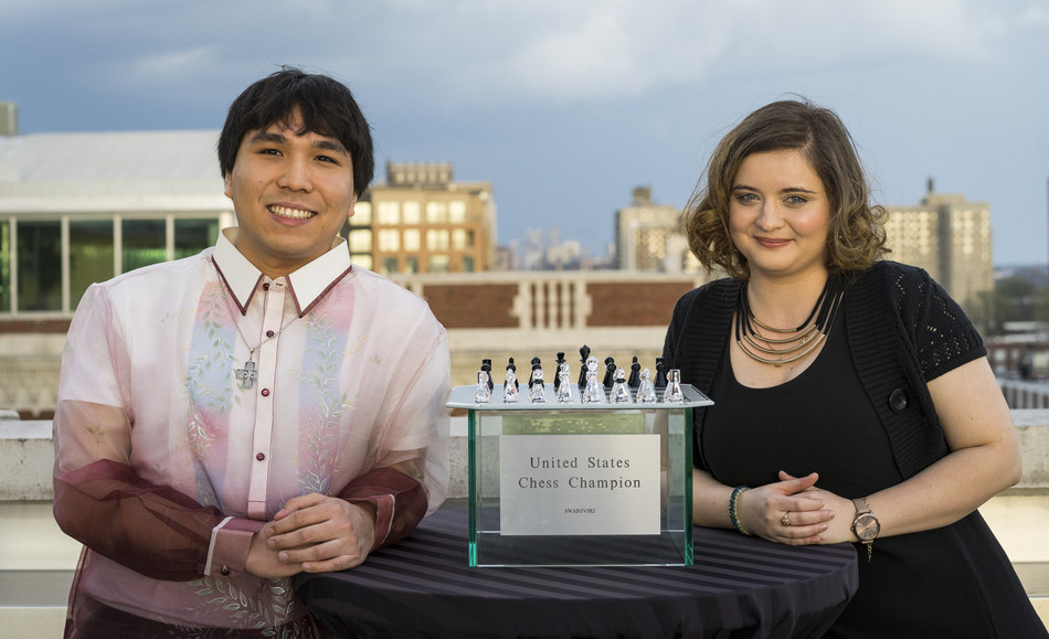 Grandmaster Wesley So, 23, and Women's Grandmaster Sabina Foisor, 27, celebrate their U.S. Chess Championship and U.S. Women's Championship wins, respectively, at the tournaments' Closing Ceremony April 10, 2017. The nation's most elite chess competitions were held at the Chess Club and Scholastic Center of Saint Louis for the ninth year in a row, March 28 – April 10, 2017. Photo Credit: Chess Club and Scholastic Center of Saint Louis / Lennart Ootes.