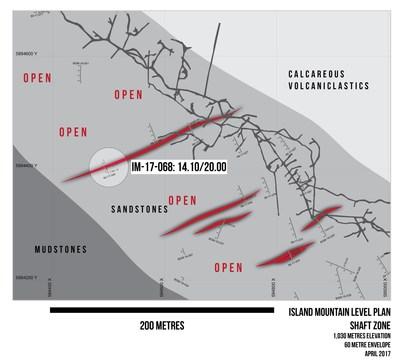 Island Mountain Level Plan Shaft Zone 1,030 metres Elevation 60 metre Envelope April 2017 (CNW Group/Barkerville Gold Mines Ltd.)