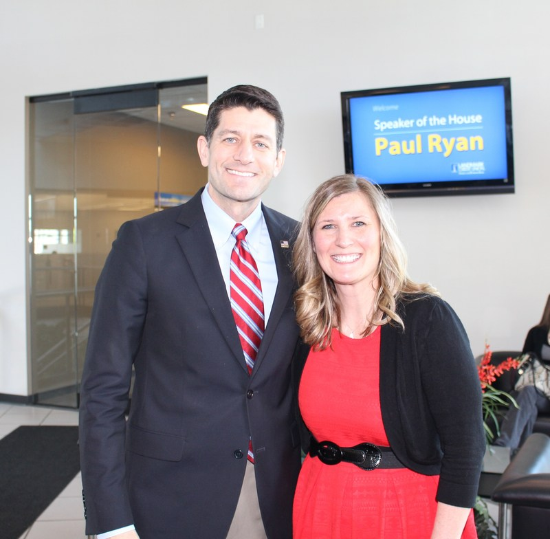 Wisconsin First District congressman and speaker of the House Paul Ryan visits Landmark Credit Union, New Berlin, Wisconsin. April 7, 2017.