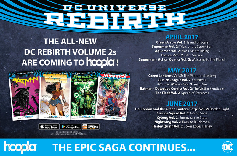 DC Rebirth Vol. 2 arrives today, bringing new titles like Green Arrow Vol. 2 and Superman Vol. 2 to the leading digital service for public libraries