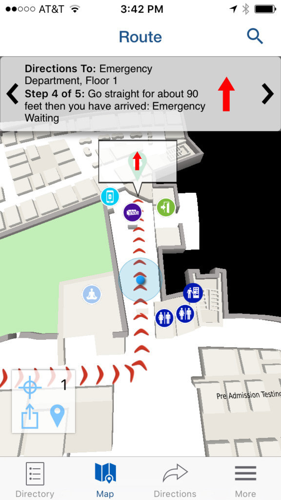 Jewish Hospital's Right This Way mapping system provides turn-by-turn navigation to almost any spot in the facility via a smartphone app