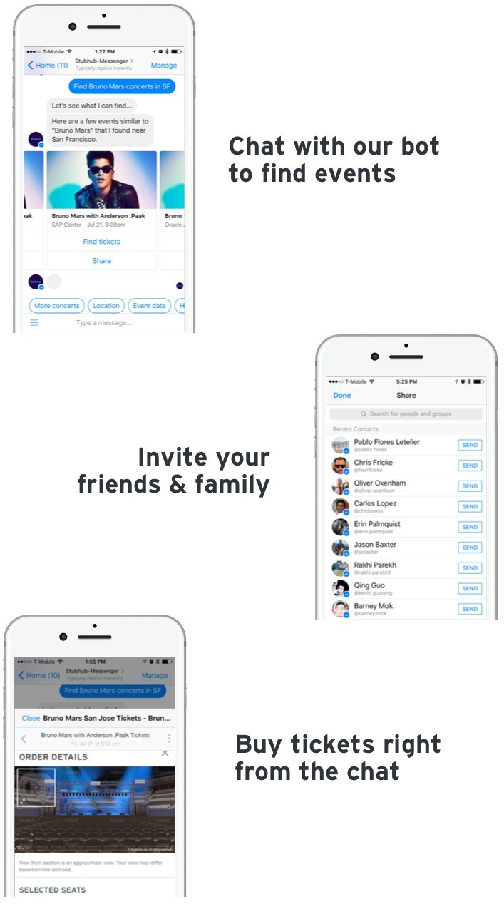 StubHub's new Facebook Messenger chatbot serves as a personal event concierge, asking questions and recommending local and upcoming events based on the information that a user supplies