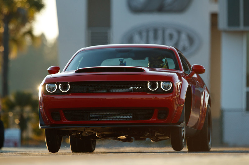 The 2018 Dodge Challenger SRT Demon, powered by an 840-horsepower supercharged 6.2-liter HEMI® V-8, is the world's first production car to lift the front wheels at launch. It set the world record for longest wheelie from a standing start by a production car at 2.92 feet, certified by Guinness World Records. The Dodge Challenger SRT Demon was unveiled Tuesday evening, April 11, ahead of the New York International Auto Show.
