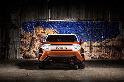 Bright LED headlamps and reflective tie-down hooks at the nose ensure high visibility. An iconic TOYOTA badge designates the center of the front's distinct X-Theme.