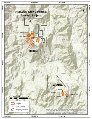 Fig. 1  La Mina and Titiribi Project Location Map. (CNW Group/GoldMining Inc.)