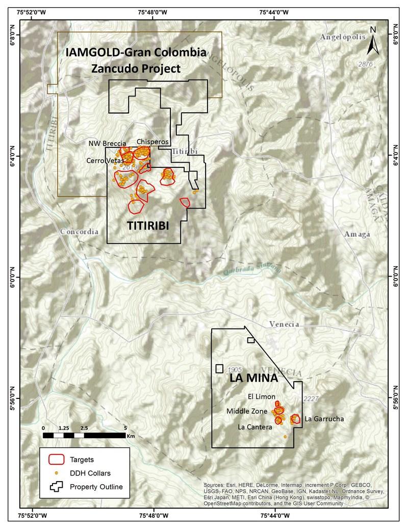 Fig. 1  La Mina and Titiribi Project Location Map. (CNW Group/GoldMining Inc.)