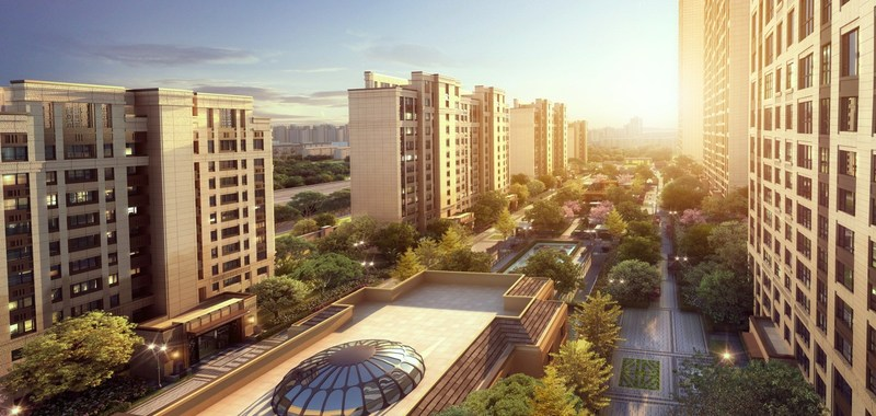 Brid view of Grand Mansion, luxury residence project in Nanjing's Hexi Central Business District