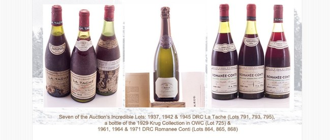 Seven of the Auction's Incredible Top Lots: 1937, 1942 & 1945 DRC La Tache (Lots 791, 793, 795), the Auction's Top Krug Lot, a bottle of the 1929 Krug Collection in OWC (Lot 725) & 1961, 1964 & 1971 DRC Romanee Conti (Lots 864, 865, 868)