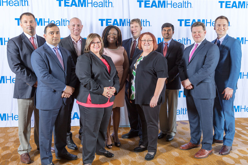 TeamHealth, a leading clinician services organization, has named its 2017 Dr. Gar LaSalle Medical Directors, Post-Acute Clinician and Advanced Practice Clinician of the Year. L to R: George Gurdock, DO; Guneesh Saluja, MD; Scott Scherr, MD; Cherity Gurganus, PMHNP-BC; Tanya Mays, MD; Patrick Behm, MD; Lou Romig, MD; Praveen Cheripalli, MD; Michael Eagan, MD; and Rodney White, CRNA.