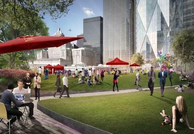 Le nouveau campus urbain de la Banque CIBC offre un parc surélevé d'un acre, un espace extérieur stimulant pour les employés et les clients CIBC et tout le public. (Groupe CNW/Banque Canadienne Impériale de Commerce)
