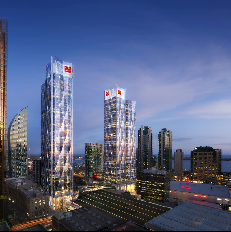 CIBC's new headquarters is being developed by Ivanhoé Cambridge and Hines, and is designed by WilkinsonEyre and Adamson Associates. (CNW Group/Canadian Imperial Bank of Commerce)