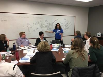 OppenheimerFunds' employees participating in an onsite skills-based volunteering program in Denver.
