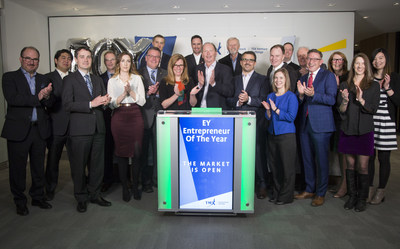 Rob Jolley, Assurance Partner and Prairies Director, EY Entrepreneur Of The Year, alongside program sponsors and supporters, joined Kyle Araki, Director, Capital Formation, TSX Venture Exchange to open the market. For over 20 years, EY Entrepreneur Of The Year Awards has encouraged entrepreneurial activity and celebrated those who are building and leading successful, growing and dynamic businesses, recognizing them through regional, national and global awards programs in more than 140 cities in more than 50 countries. It is a year-long, multi-event program that culminates in finalist and alumni events throughout Canada in September and October and a National awards gala in Toronto in November. Toronto Stock Exchange and TSX Venture Exchange are national presenting sponsors of the 2017 EY Entrepreneur Of The Year Awards. (CNW Group/TMX Group Limited)