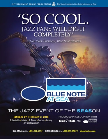 Full details regarding Blue Note at Sea can be found in the 2018 cruise brochure