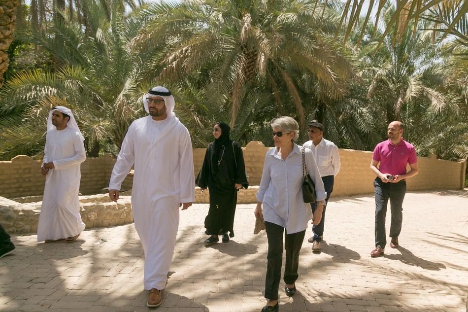 HE Mohamed Khalifa Al Mubarak, Chairman of Abu Dhabi Tourism & Culture Authority (TCA Abu Dhabi) and HE Irina Bokova, Director General of UNESCO, pictured visiting Al Ain, home to the UAE's first UNESCO World Heritage Site, Al Ain Oasis (PRNewsfoto/Abu Dhabi Tourism & Culture Aut)