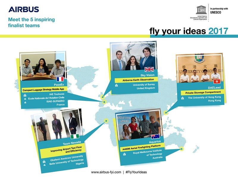 5 finalist teams selected for Airbus Fly Your Ideas 2017