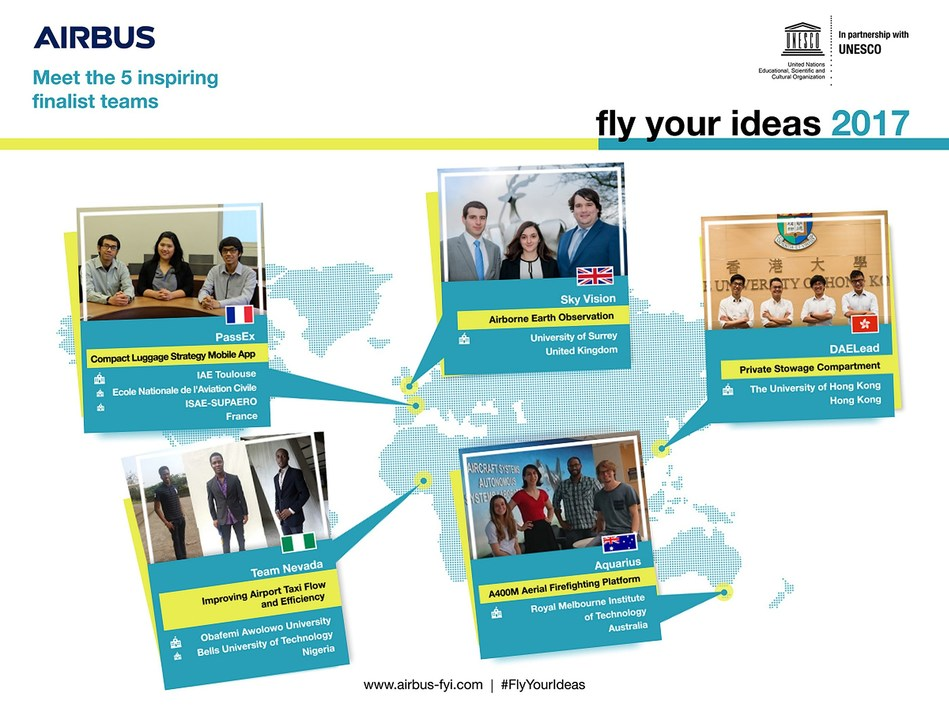 5 finalist teams selected for Airbus Fly Your Ideas 2017 (PRNewsfoto/Airbus)