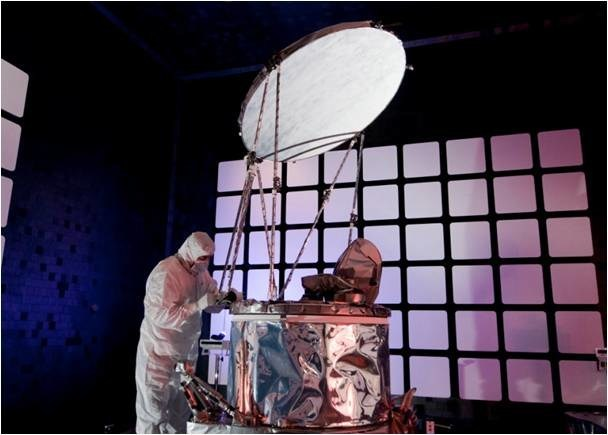 The Global Precipitation Measurement (GPM) Microwave Imager (GMI) undergoes testing.