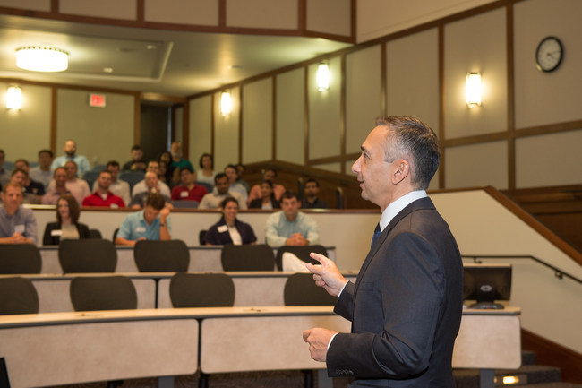 Dean Peter Rodriguez delivers his presentation at the Jones Graduate School of Business.