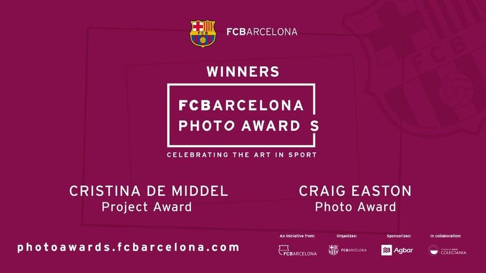 FCBARCELONA PHOTO AWARDS HAVE THEIR VERY FIRST WINNERS, CRAIG EASTON (Photo Award) AND CRISTINA DE MIDDEL (Project Award) (PRNewsfoto/FC Barcelona)