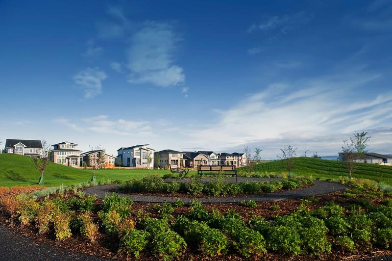 Harmony show homes overlooking Harmony's Paintbrush Park. Springbank, AB (CNW Group/Harmony Developments)