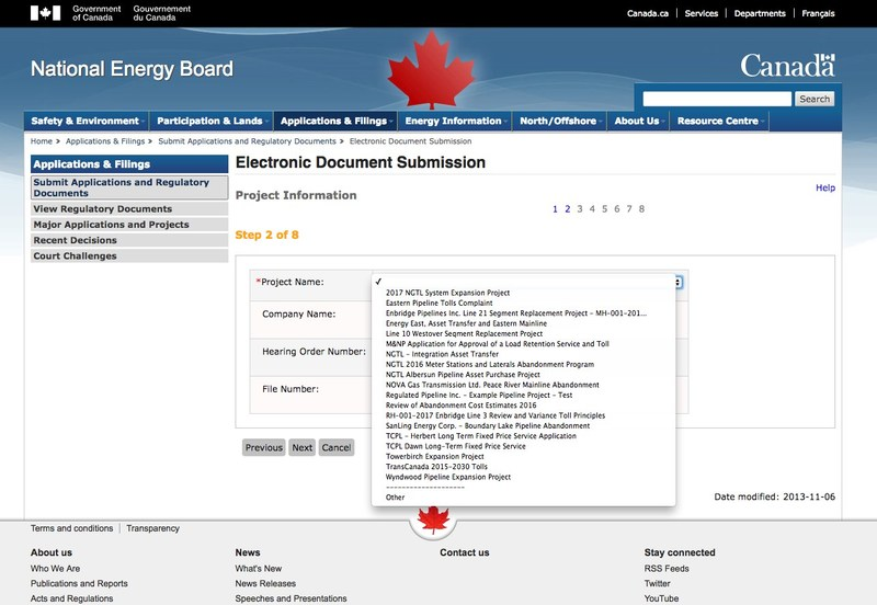 A screenshot of an NEB website drop-down menu shows that Kinder Morgan's Trans Mountain Pipeline isn't listed as an option on which to comment. (CNW Group/Kennedy Stewart, MP for Burnaby South)