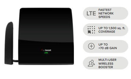 Boosts mobile wireless reception for up to 1,500 square feet inside homes, offices, and apartments.