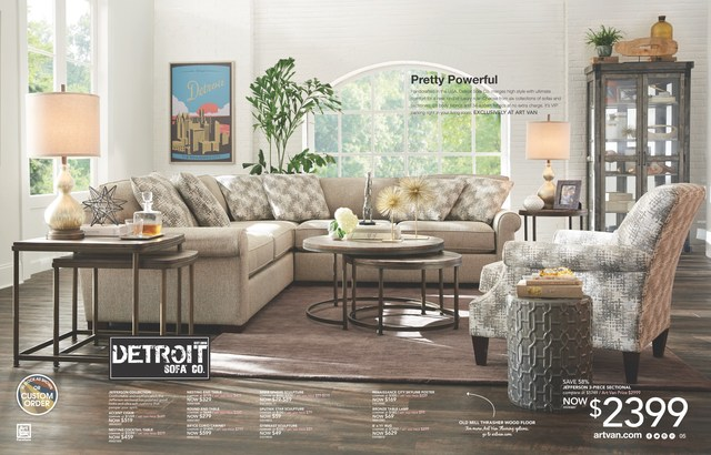 Detroit Sofa Company officially debuts in the Art Van Furniture 2017 Spring Catalog