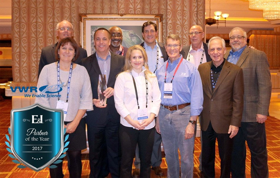 VWR accepts the 2017 Partner of the Year award from E&I Cooperative Services.