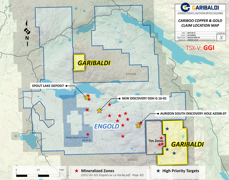 Cariboo Copper & Gold Claim Location map (CNW Group/Garibaldi Resources Corp.)