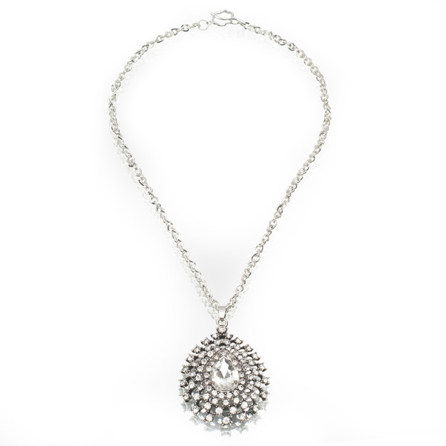 Artistic Falls Pear Shaped Pendant and Silver Chain Necklace