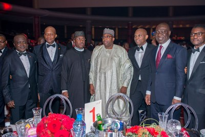 2017 CEO Awards 2: Executive Director, North, UBA Plc, Mr. Ibrahim Puri; GMD/CEO, UBA Plc, Mr. Kennedy Uzoka; Governor of Adamawa State, His Excellency Bindow Jibrilla ; Governor of Bauchi State, His Excellency, Mohammed Abdullahi Abubakar ; Group Chairman, UBA Plc, Mr. Tony Elumelu; Directors, UBA Plc; Deputy Senate President, Sen. Ike Ekweremadu;  and former Director General, Mr. Frank Nweke,  at the Annual  UBA CEO Awards which was held in Lagos at the weekend (PRNewsfoto/United Bank for Africa (UBA))