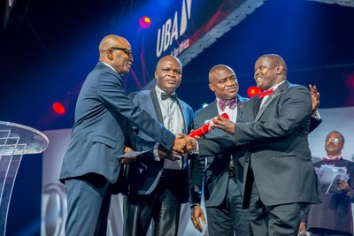 2017 CEO Awards 3: CEO, UBA Francophone Africa, Mr. Emeke Iweriebor; Executive Director, Lagos and West, Mr Ayo Liadi ; CEO, UBA Anglophone Africa, Mr. Oliver Alawuba; Award Winner and MD/CEO, UBA Tanzania, Mr. Peter Makau, at the Annual  UBA CEO Awards which was held in Lagos at the weekend (PRNewsfoto/United Bank for Africa (UBA))