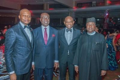 2017 CEO Awards 6: GMD/CEO, UBA Plc, Mr. Kennedy Uzoka; Deputy Senate President, Sen. Ike Ekweremadu; Group Chairman, UBA Plc, Mr. Tony Elumelu; Governor of Adamawa State, His Excellency Bindow Jibrilla, at UBA CEO Awards which was held in Lagos at the weekend (PRNewsfoto/United Bank for Africa (UBA))